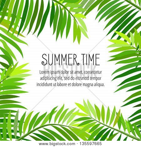 Summer party poster with palm leaf and lettering. Summer time. Vector illustration