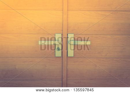 Close up of Wood door ( Filtered image processed vintage effect. )