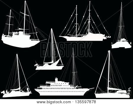 illustration with ship silhouettes isolated on black background