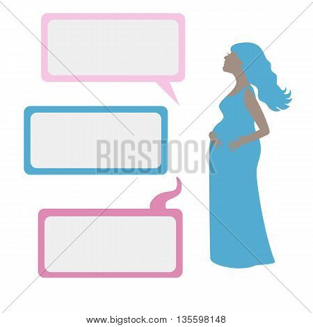 Vector illustration of Pregnant woman's silhouette with dialog boxes. White background.