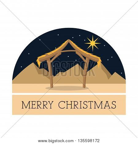 Manger represented by hut and star icon over isolated and flat background. Merry Christmas design.