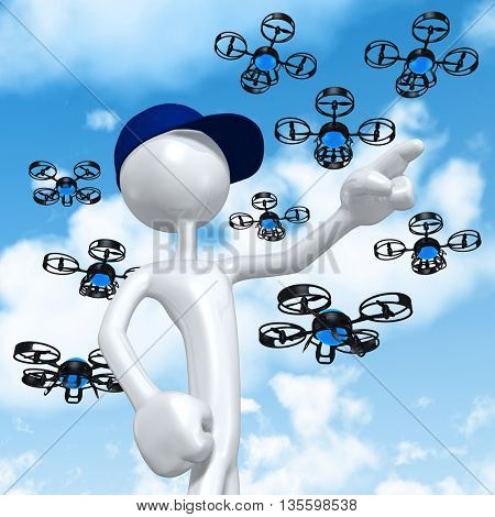 Worker With Aerial Drone 3D Illustration Concept