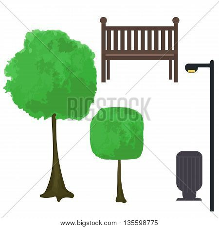 Vector city street urban elements set. Lantern, bench, trashcan, bush, tree isolated clip-art.