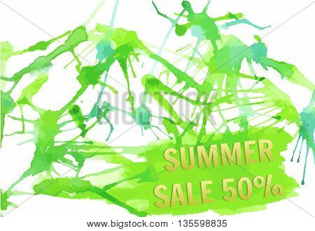 Bright spots watercolors. Vector textured hand painted watercolor Summer Sale banner with paint stains and blots.