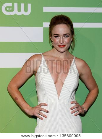 NEW YORK, NY - MAY 14: Actress Caity Lotz attends the 2015 CW Network Upfront Presentation at the London Hotel on May 14, 2015 in New York City.