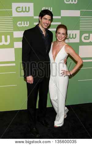 NEW YORK, NY - MAY 14: Actors Brandon Routh (L) and Caity Lotz attend the 2015 CW Network Upfront Presentation at the London Hotel on May 14, 2015 in New York City.