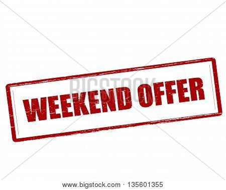 Rubber stamp with text weekend offer inside vector illustration