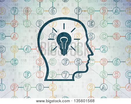 Data concept: Painted blue Head With Lightbulb icon on Digital Data Paper background with Scheme Of Hexadecimal Code