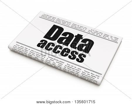 Data concept: newspaper headline Data Access on White background, 3D rendering