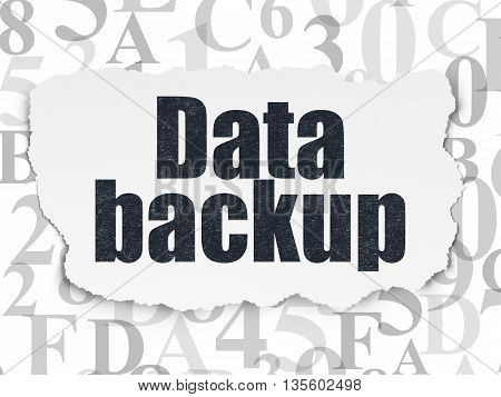 Information concept: Painted black text Data Backup on Torn Paper background with  Hexadecimal Code