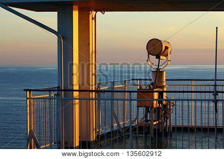 The projector near captain's cabin on a cruise ship