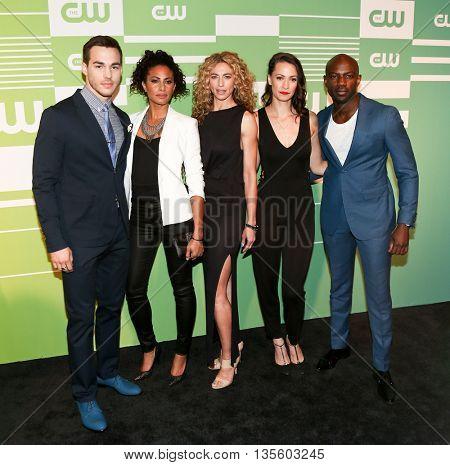 NEW YORK, NY - MAY 14: (L-R) Chris Wood, Christina Moses, Claudia Black, Kristen Gutoskie and David Gyasi attend 2015 CW Network Upfront Presentation at London Hotel on May 14, 2015 in New York City.