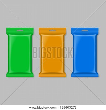 Set of polymer packaging in green orange and blue color