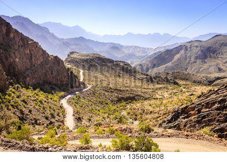 Road through Al Hajar mountains in Oman