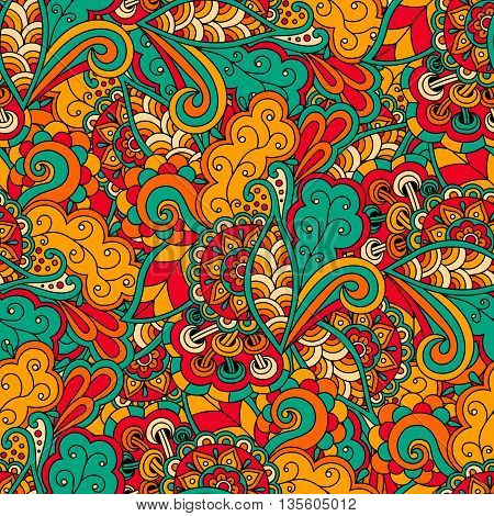 Doodle seamless pattern floral bright hand drawn.