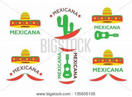 Mexican food logo labels emblems and badges set. Sombrero and tequila bottle guitar element eps10