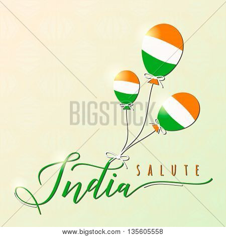 Vector illustration of Indian felicitation theme on seamless wheel background. Salute india. Republic and Independence day greeting card with endless backdrop, ballon, light effect. Print, web design.