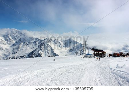 Cable car station at the Elbrus mountain, Russia