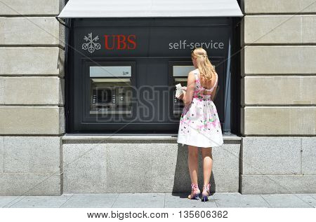 ZURICH, SWITZERLAND - AUGUST 29, 2015 - ATMs of UBS bank, a Swiss global financial services company.