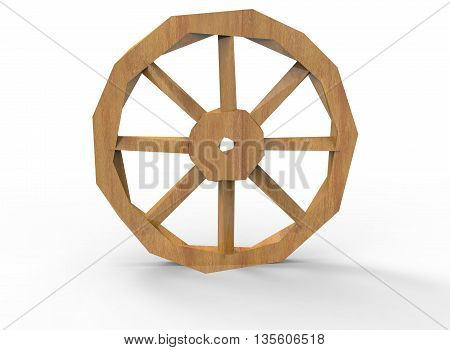 3d illustration of low poly wheel. icon for game web. white background isolated.