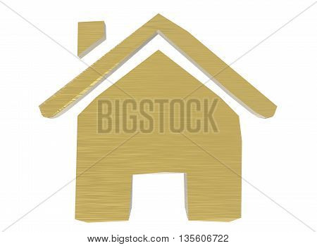 3d illustration of house rent sign. icon for game web. white background isolated. green color