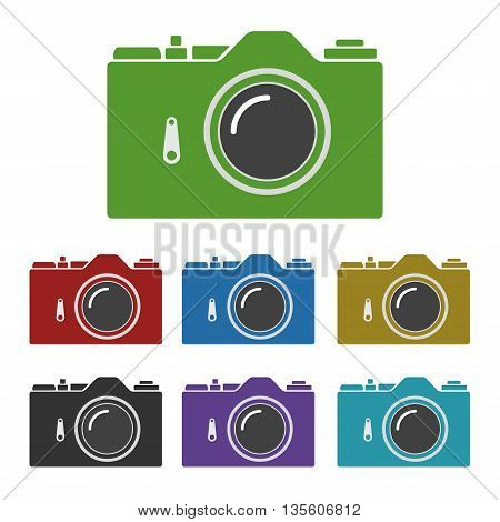Set of color common SLR camera icons signs isolated on white background