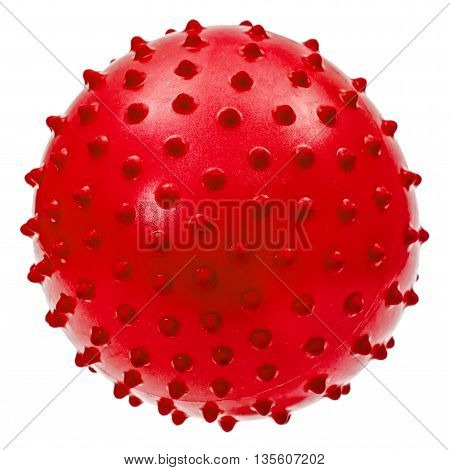 Children's red ball isolated on white background