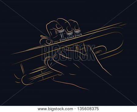 Playing trumpet line art illustration. Hands holding trumpet.