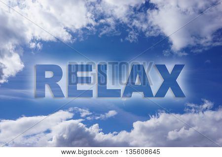 Relax word on nature blue sky background