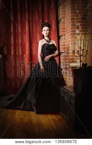 Sensual Gothic Woman In A Long Gorgeous Black Dress