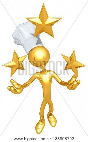 Chef Character With Stars 3D Illustration
