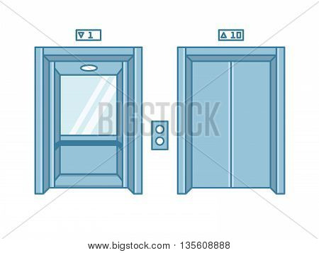 Open and closed line flat office building elevator doors