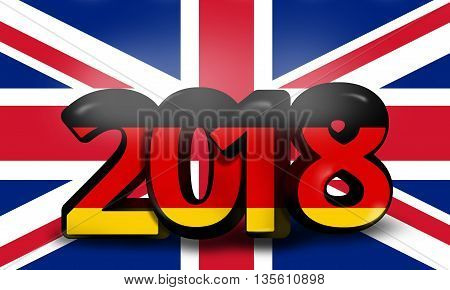 German United Kingdom 2018 Big Bold Font 3D Render Illustration