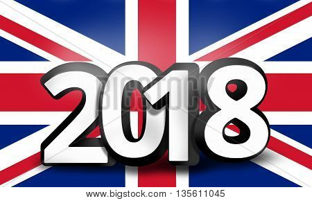 United Kingdom 2018 Big Bold Font 3D Render Illustration