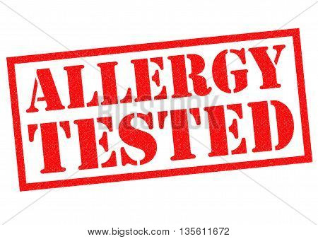 ALLERGY TESTED red Rubber Stamp over a white background.