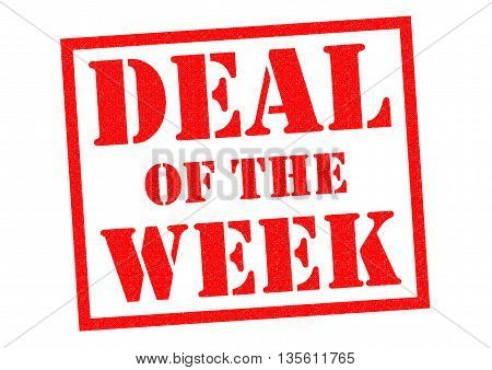 DEAL OF THE WEEK red Rubber Stamp over a white background.