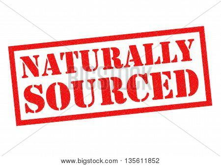 NATURALLY SOURCED red Rubber Stamp over a white background.
