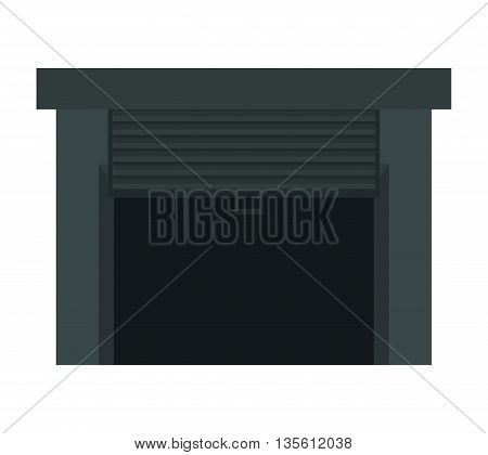 Delivery and shipping concept represented by garage icon over isolated and flat background