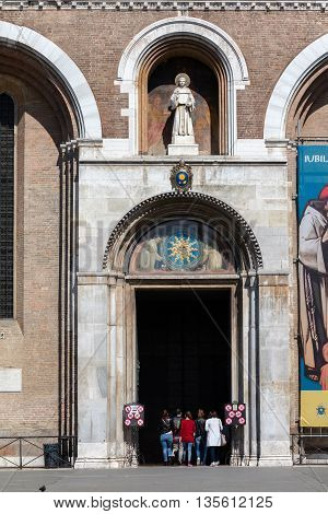 PADUA ITALY - APRIL 23 2016: Entrance to the Basilica of Saint Anthony of Padua one of the eight international shrines recognized by the Holy Seeis. It is a popular place of pilgrimage.