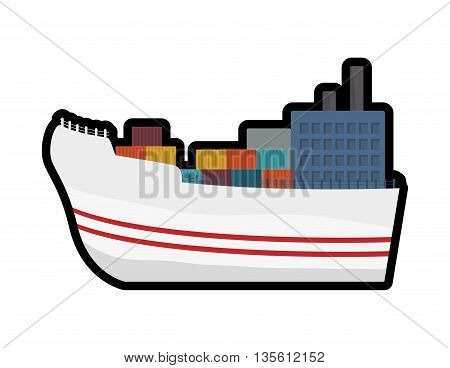 Delivery and shipping concept represented by ship and containers icon over isolated and flat background