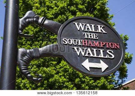 A sign in Southampton marking the route and location of the historic City Walls.