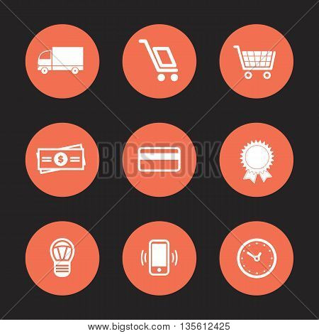 Vector flat Shopping and Ecommerce Icons Set