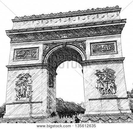 Arc de Triomphie, Paris, France, Europe, Line drawing generated from photograph