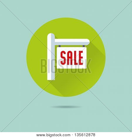 real estate sale sign flat design long shadow vector icon