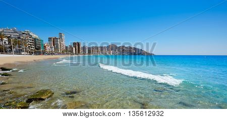 Benidorm Levante beach in Alicante Mediterranean of Spain
