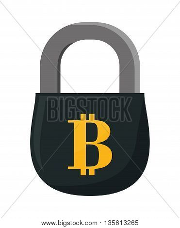 Bitcoin concept represented by padlock icon over isolated and flat background