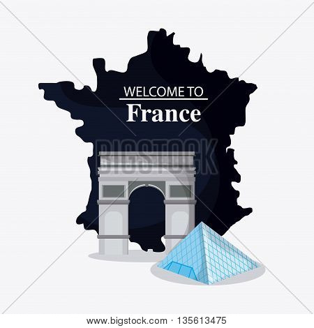 France represented by the  arch of trumph, map and  louvre design over isolated and flat illustration