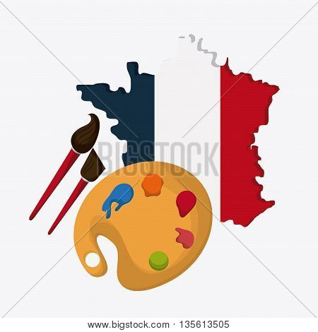 France represented by his map and painting instrument design over isolated and flat illustration