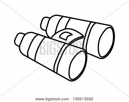 Armed forces concept represented by binoculars icon over isolated and flat background