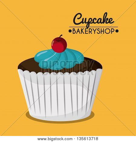 Decorated Cupcake with bakery cream design. Colorfull illustration, yellow background